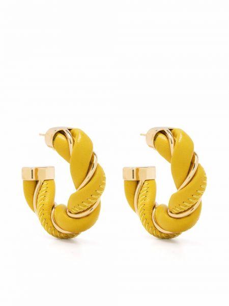 Кожаные серьги - желтые Bottega Veneta