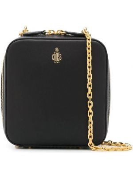 Золотистая с ремешком черная сумка на цепочке на молнии Mark Cross