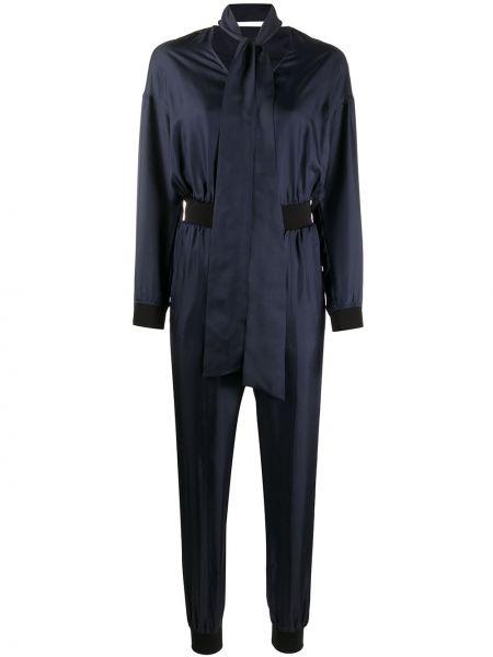 Синий с рукавами комбинезон с поясом Karl Lagerfeld