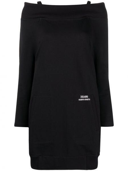 Открытое черное платье мини с вырезом Alberta Ferretti