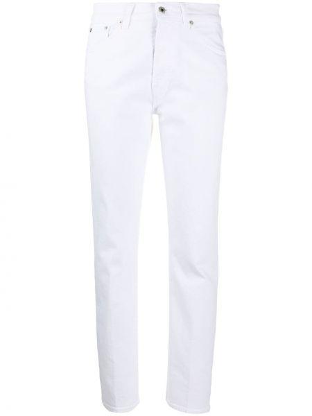 Хлопковые белые джинсы-скинни на молнии Dondup