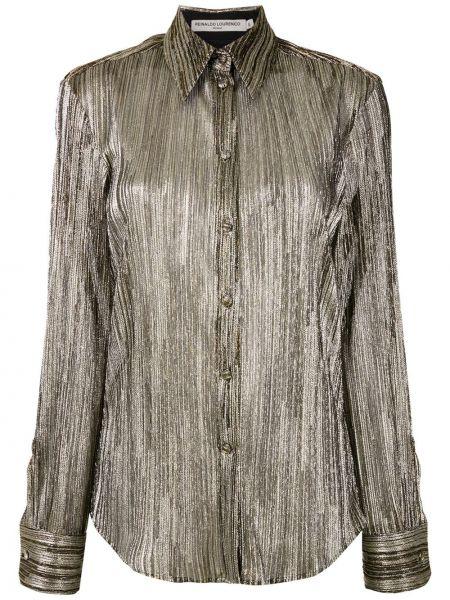 Прямая классическая рубашка с воротником золотая на пуговицах Reinaldo Lourenço