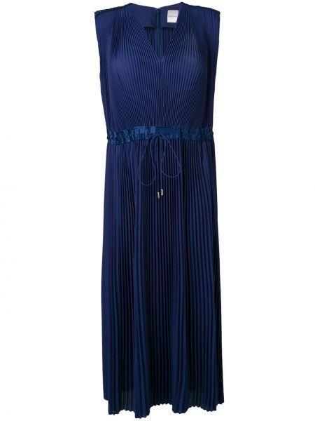 Шелковое платье миди - синее Paul Smith