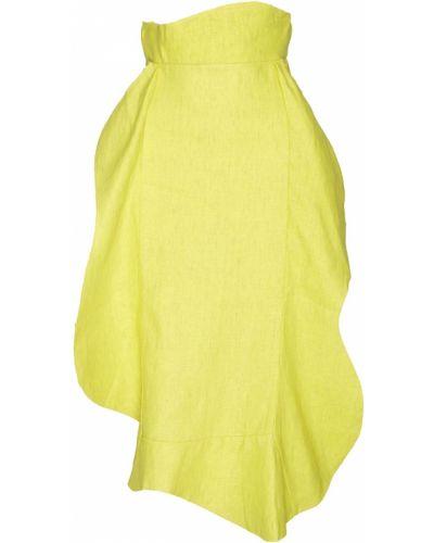 Льняная желтая юбка с оборками A.w.a.k.e.