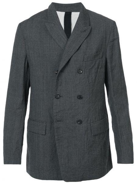 Облегающий шерстяной черный пиджак двубортный Forme D'expression