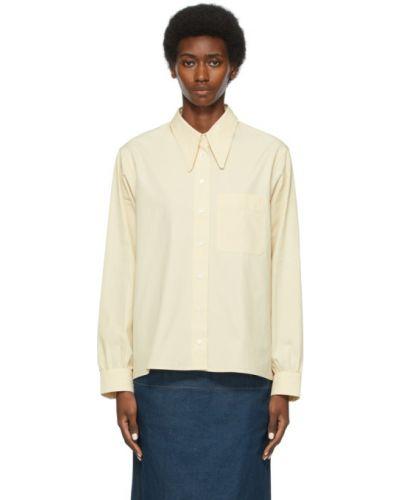 Beżowa koszula bawełniana z długimi rękawami Lemaire