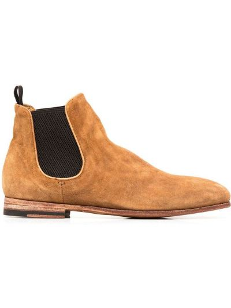 Skórzany brązowy buty obcasy okrągły na pięcie Officine Creative