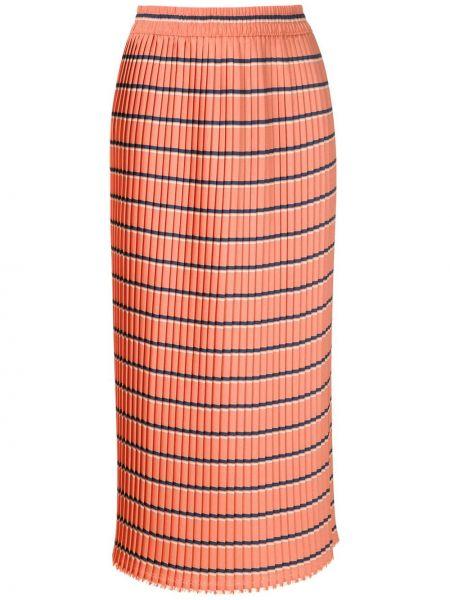 Оранжевая с завышенной талией плиссированная юбка миди À La Garçonne