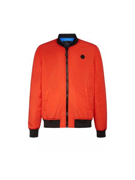 Pomarańczowa długa kurtka z długimi rękawami Philipp Plein