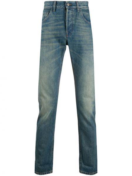 Bawełna niebieski skórzany klasyczny jeansy z kieszeniami Gucci