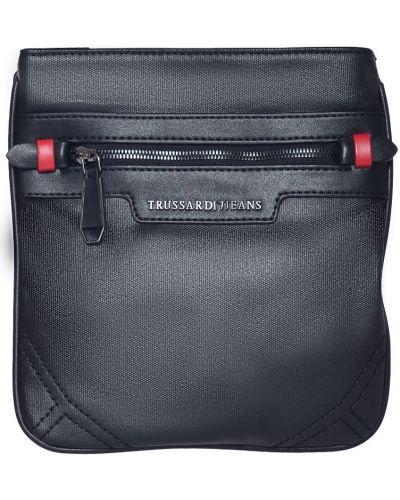 Кожаная сумка текстильная черная Trussardi Jeans