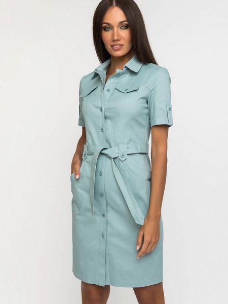 Платье бирюзовый платье-рубашка Gloss