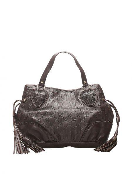 Кожаная коричневая сумка-тоут с кисточками на молнии Gucci Pre-owned