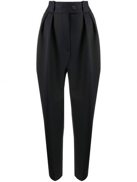 Синие шерстяные плиссированные свободные брюки с карманами Miu Miu