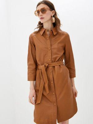 Коричневое кожаное платье B.young