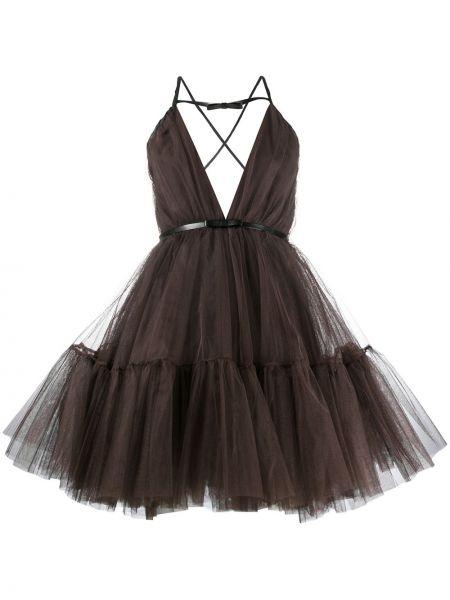 Sukienka mini rozkloszowana tiulowa bez rękawów Brognano