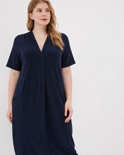 Повседневное платье осеннее синее Evans