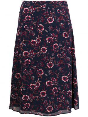 Z wysokim stanem niebieski spódnica midi z wiskozy wzór w kwiaty Tommy Hilfiger
