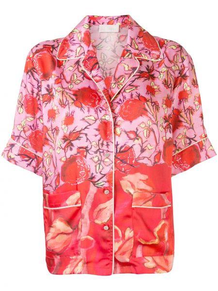 Koszula krótki rękaw z printem w kwiaty Peter Pilotto