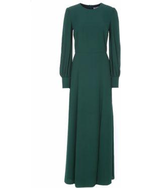 Приталенное шелковое платье макси на молнии с длинными рукавами A La Russe