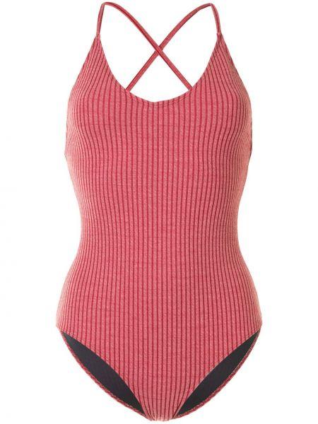 Облегающий красный пляжный купальник с шортами с вырезом Duskii