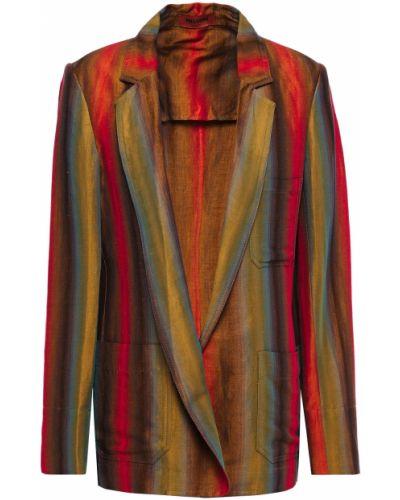 Льняной коричневый пиджак с карманами Missoni