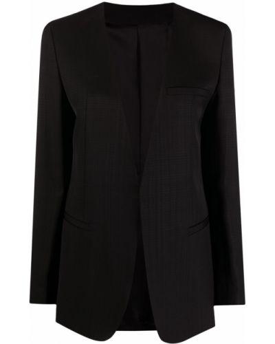 Однобортный черный удлиненный пиджак с длинными рукавами Toteme
