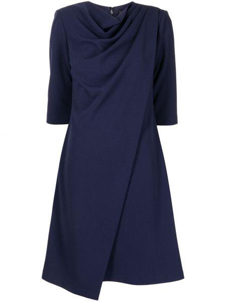 Niebieska sukienka krótki rękaw Badgley Mischka