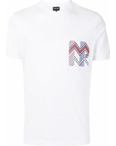 Прямая с рукавами белая футболка Giorgio Armani