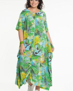 Прямое летнее платье в стиле бохо с карманами круглое прима линия