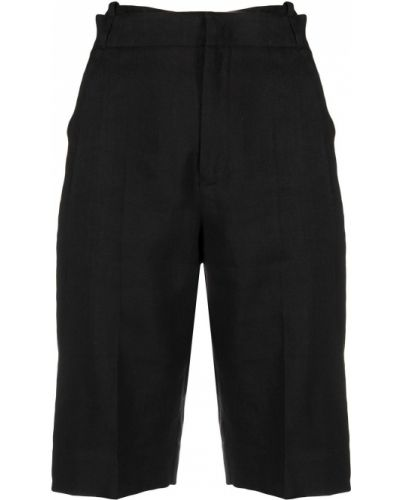 Льняные черные короткие шорты с карманами Jacquemus