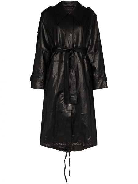 Черное кожаное пальто классическое с капюшоном Low Classic