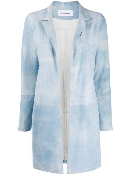 Синее кожаное длинное пальто с капюшоном Sylvie Schimmel