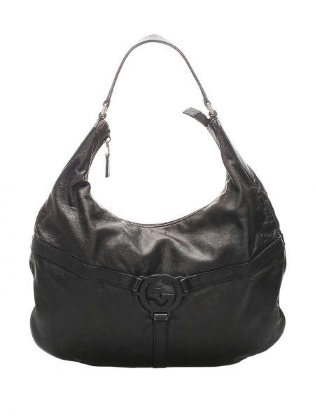 Кожаная черная сумка на молнии с карманами Gucci Pre-owned