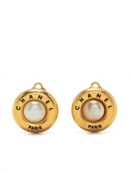 Białe złote kolczyki sztyfty Chanel Pre-owned