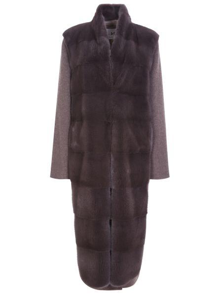 Коричневое шерстяное пальто с воротником на кнопках Manzoni 24