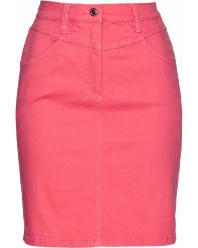 Розовая джинсовая юбка с кокеткой с карманами Bonprix