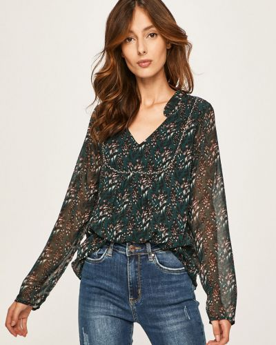 Блузка с длинным рукавом с V-образным вырезом зеленый Answear