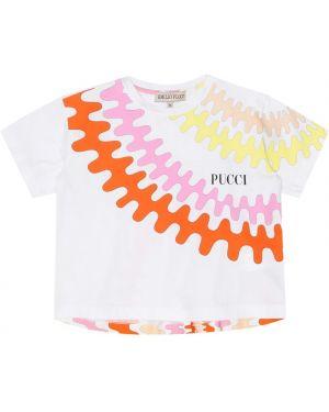 T-shirt rozciągać biały Emilio Pucci Kids