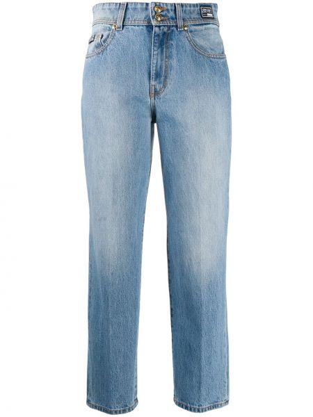 С завышенной талией хлопковые синие укороченные джинсы на молнии Versace Jeans Couture