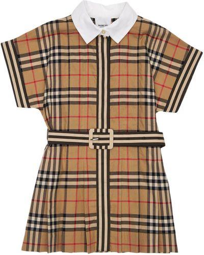 Beżowa sukienka z paskiem bawełniana Burberry