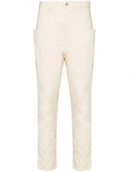 Beżowy bawełna z wysokim stanem jeansy na wysokości z kieszeniami Isabel Marant