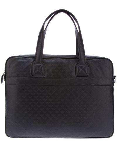 Кожаная сумка для ноутбука с логотипом Emporio Armani