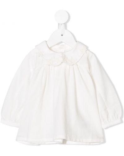 Biała tunika bawełniana z długimi rękawami Chloé Kids