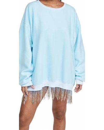 Хлопковое платье макси с длинными рукавами с бахромой Baja East
