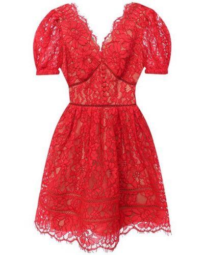 Хлопковое красное платье с подкладкой Self-portrait