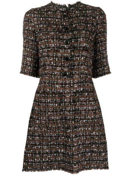 Коричневое с рукавами шерстяное платье мини Dolce & Gabbana