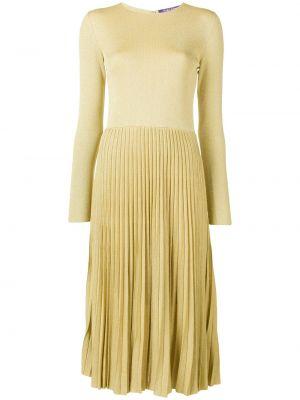 Желтое приталенное плиссированное платье миди с люрексом Ralph Lauren Collection