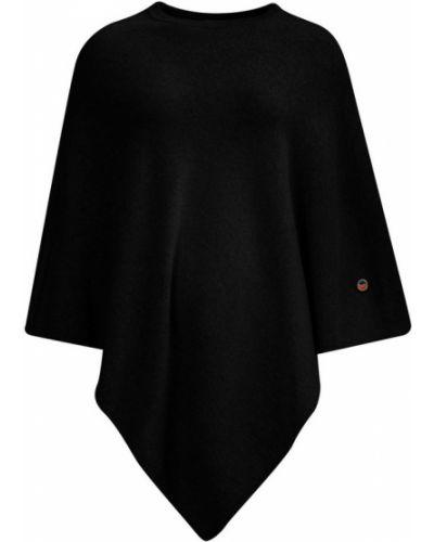 Czarny ponczo wełniany asymetryczny Busnel