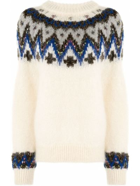 Белый свитер из мохера с рукавом реглан в рубчик Coohem